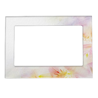 floral background with watercolor flowers magnetic frame