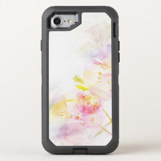 floral background with watercolor flowers OtterBox defender iPhone 8/7 case