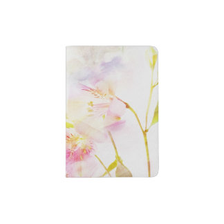 floral background with watercolor flowers passport holder