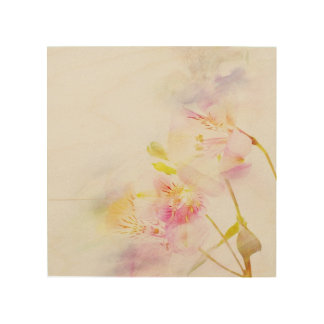 floral background with watercolor flowers wood wall art