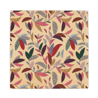 Floral background wood coaster