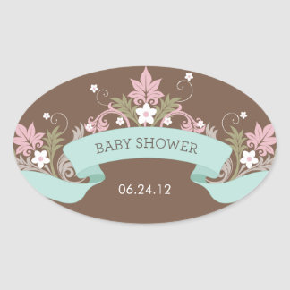 Floral Banner Aqua Baby Shower Sticker