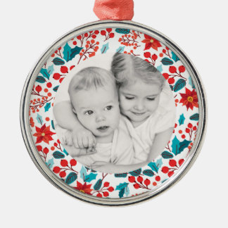 Floral Banner Holiday Photo Premium Round Ornament