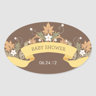 Floral Banner Yellow Baby Shower Sticker