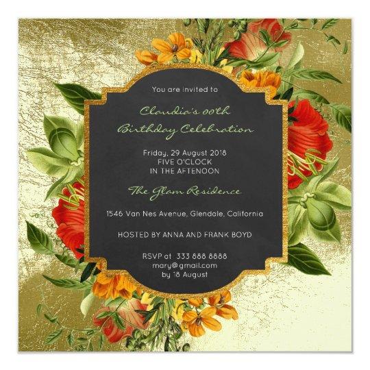 Floral Baroque Birthday Golden Frame Mint Green Card