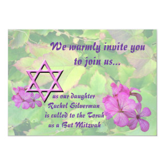 Floral Bat Mitzvah-Pink Multi with Star of David Custom Announcement