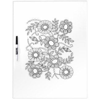 Floral Beaded Spray Adult Coloring Dry Erase Board
