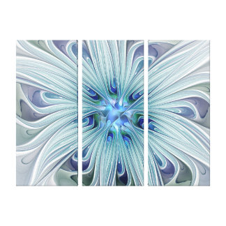 Floral Beauty Abstract Modern Blue Flower Triptych Canvas Print