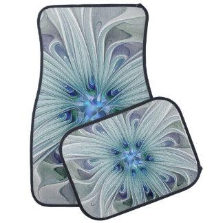 Floral Beauty Abstract Modern Blue Pastel Flower Car Mat