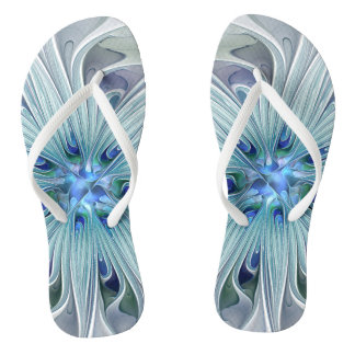 Floral Beauty Abstract Modern Blue Pastel Flower Flip Flops