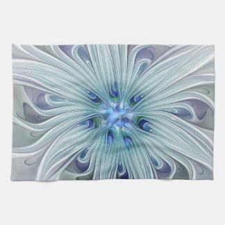 Floral Beauty Abstract Modern Blue Pastel Flower Tea Towel