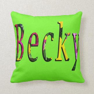 Floral Becky Name Logo, Cushion