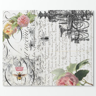 Floral Bee Script Wrapping Paper