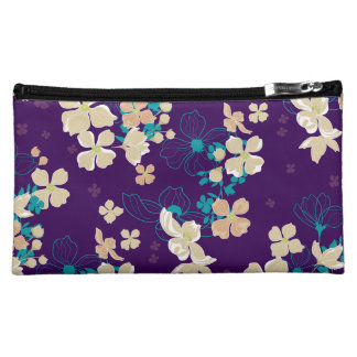 Floral Beige and Teal Cosmetic Bag