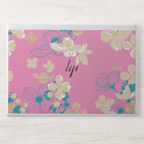 Floral – Beige and Teal - HP Laptop Skin