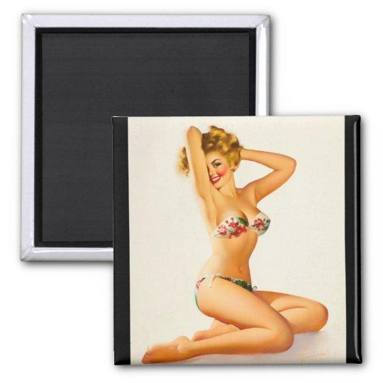 Floral Bikini Pin Up Art Square Magnet