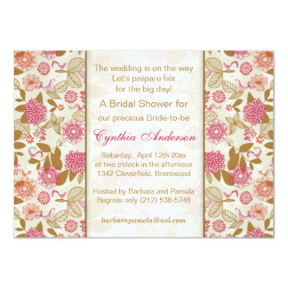 Floral, bird and butterfly Bridal Shower Card
