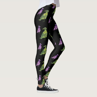 Floral bird patchwork print leggings