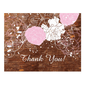 FLORAL, BIRTHDAY THANK YOU CARD POSTCARD