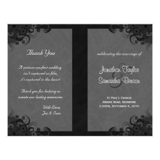 Floral Black and Gray Goth Folded Wedding Programs 21.5 Cm X 28 Cm Flyer