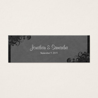 Floral Black and Gray Gothic Wedding Favor Tags