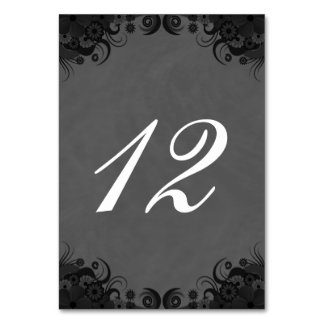 Floral Black and Gray Reception Table Number Cards Table Card