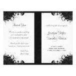 Floral Black and White Goth Folded Wedding Program 21.5 Cm X 28 Cm Flyer