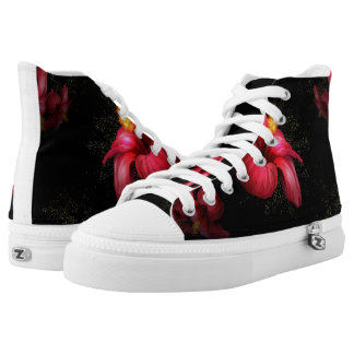 Floral black and white high tops