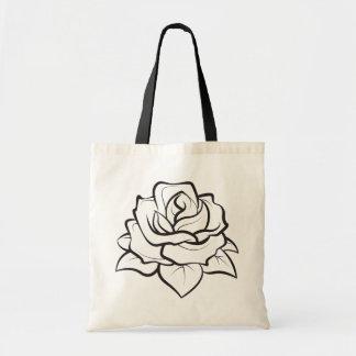 Floral BlacK And White Rose Flower Illustration Tote Bag