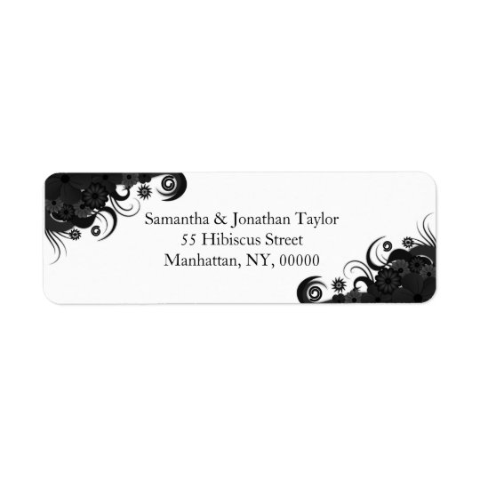 Floral Black and White Small Return Address Labels