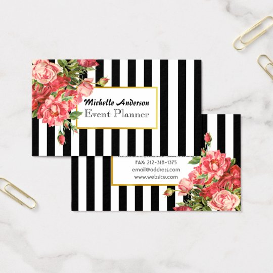 Floral black and white striped business card