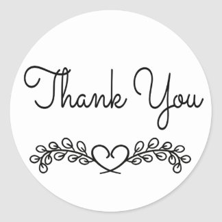 Floral Black and White Thank You Laurel Heart Classic Round Sticker