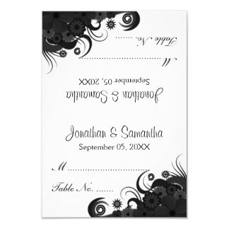 Floral Black and White Wedding Table Place Cards