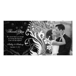Floral Black and White Wedding Thank You Photocard Customised Photo Card