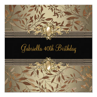 Floral Black Coffee Pearl chain 40th Birthday Card