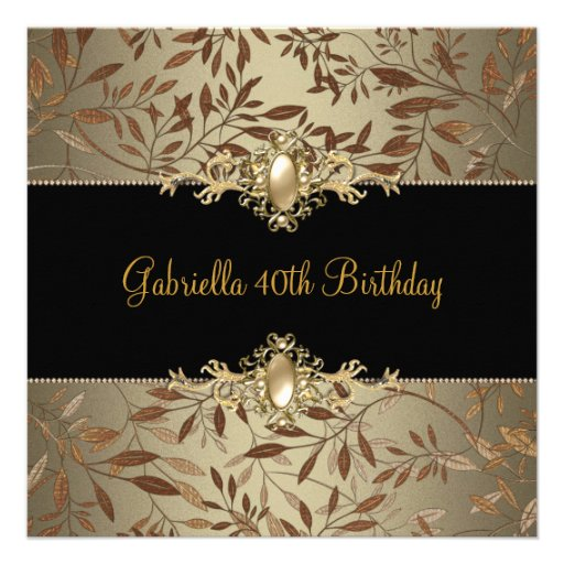 Floral Black Coffee Pearl Trim 40th Birthday Party Personalized Announcement