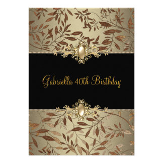 Floral Black Coffee Pearl Trim 40th Birthday Party Personalized Invitations