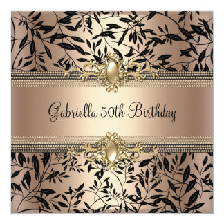 Floral Black Gold Coffee Pearl 50th Birthday Party Personalized Announcement