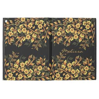 "Floral Black Gold Monogram iPad Pro 12.9"" Case"