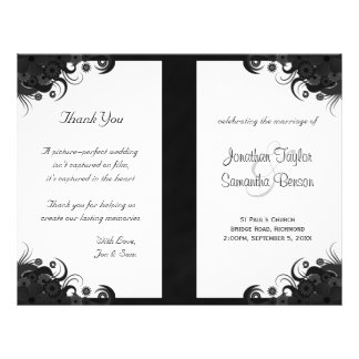 Floral Black Hibiscus Goth Folded Wedding Programs Personalized Flyer