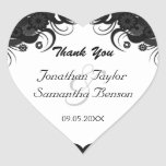 Floral Black Hibiscus Heart Wedding Favour Heart Stickers