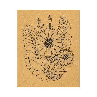 Floral Black Line Art Design Canvas Print