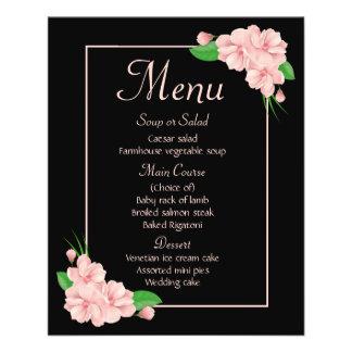 Floral Black Menu Pink Flowers Wedding Party