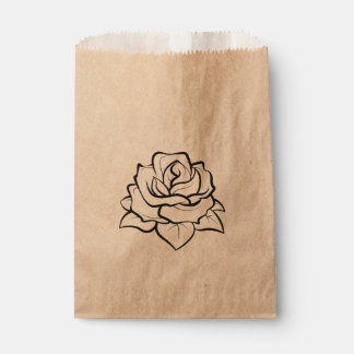 Floral Black Rose Flower Rustic Country Wedding Favour Bags