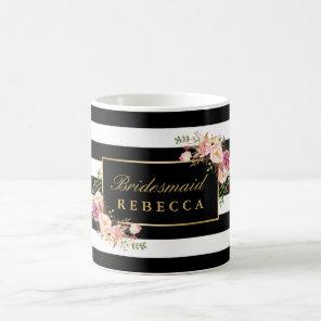 Floral Black Stripes Bridesmaid Bridal Shower Coffee Mug