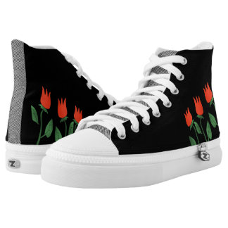 Floral Black Stylish Tulips Cartoon Chic Trendy High Tops