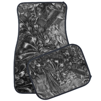 Floral black white car mat