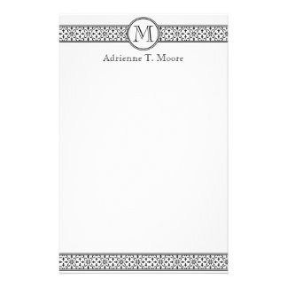 Floral Black White Monogram Initial Stationery