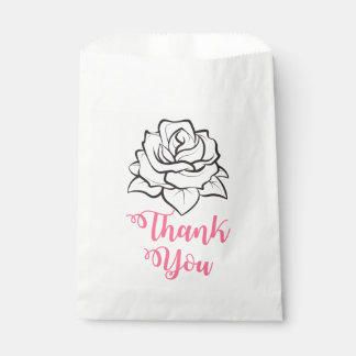 Floral Black & White Rose Flower Pink Thank You Favour Bags