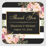 Floral Black White Striped Gold Frame Thank You Square Sticker